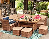 Aoxun 7 Pieces Outdoor Furniture Set, Sectional Sofa Conversation Set with Cushions and Pillows, All Weather Wicker Rattan Suitable for Deck or Yard(Brown)