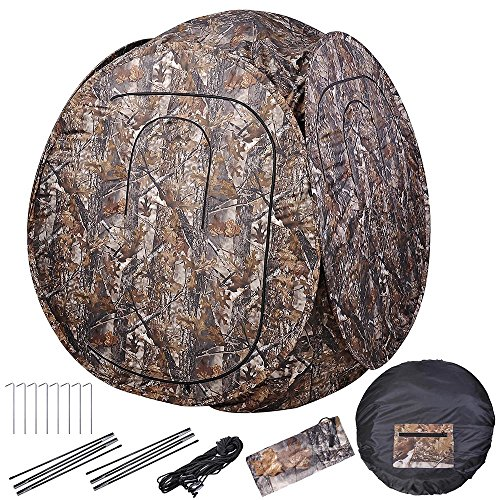 AW Pro Pop Up Hunting Blind Tent 300D w/Carrying Bag 60x60x68 Camo Hub Polyester Fibre Outdoor Windproof Waterproof