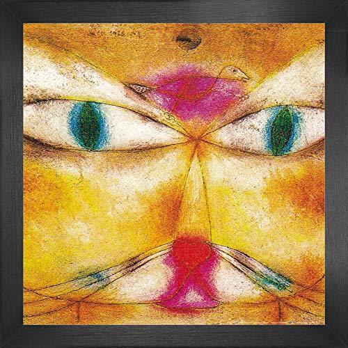 1art1 Paul Klee Poster Kunstdruck und MDF-Rahmen - Katze Und Vogel, 1928 (40 x 40cm)