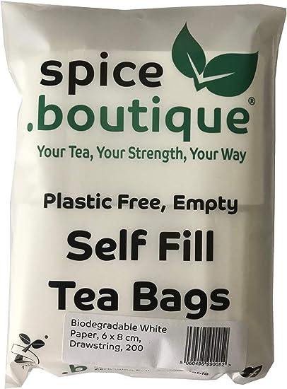 .boutique spice.boutique 1000 sachets de th/é vides en papier blanc biod/égradable sans plastique 6 x 8 cm