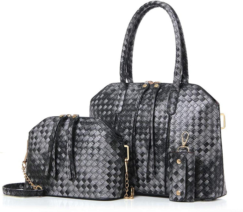 NZZNB Women's Bag Fashion Woven Pattern Large-Capacity Handbag Exquisite Charming Shoulder Bag Utility Key Bag 3Pcs Satchel Tote Purse Top-Handle Handbags