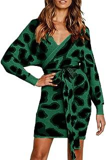 JOYCHEER Womens Sweater Dresses Sexy V Neck Backless Long Batwing Sleeves Mini Bodycon Dress