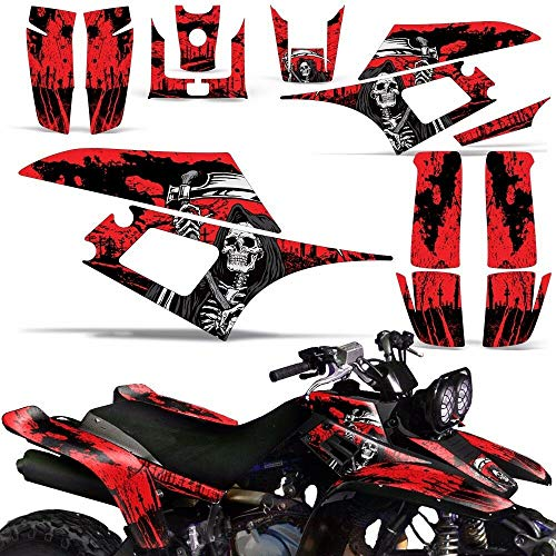 Wholesale Decals ATV Graphics kit Sticker Decal Compatible with Yamaha Warrior 350 All Years - Reaper V2 Red