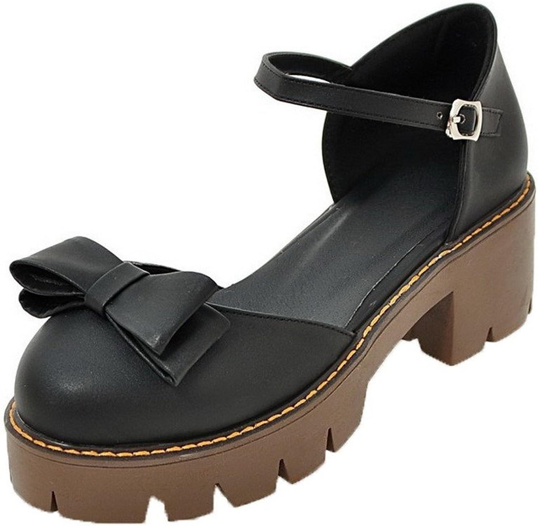 WeenFashion Women's Pu Buckle Closed-Toe Kitten-Heels Sandals, Black, 38