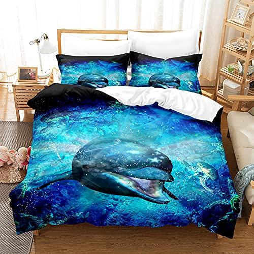 PTNQAZ Juego de ropa de cama con estampado en 3D, funda de edredón y fundas de almohada, regalo para niños, ropa de cama (doble