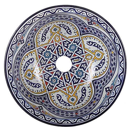 Orientalische Keramik-Waschbecken Fes119 Ø 35 cm bunt | Marokkanische Aufsatzwaschbecken handbemalt Handwaschbecken für Küche Badezimmer Gäste-Bad | Einfach schöner Wohnen
