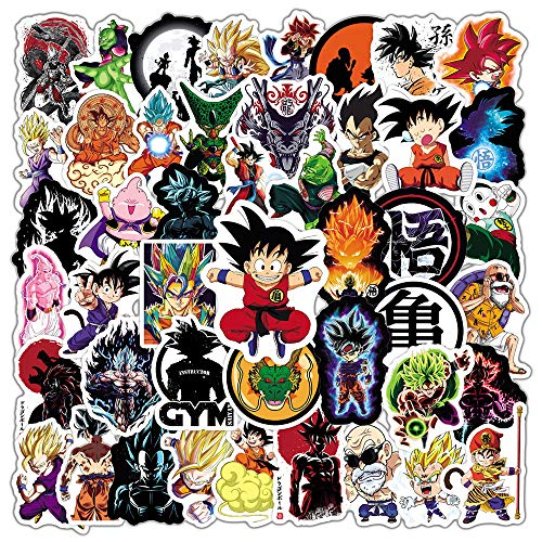 Dragon Ball Z Stickers [50pcs] Anime Stickers Pack for Nintendo Switch Laptop Water Bottle Bike Car Motorcycle Bumper Luggage Skateboard Decal Best Gift for Kids