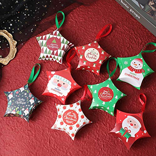 Five-Pointed Star Gift Boxes Set of 32 Decorative Candy Boxes, Cookies, Goodies Christmas Candy Bags Santa Claus Reindeer Xmas Tree Gift Box Present Packaging for Festival Holiday New Year