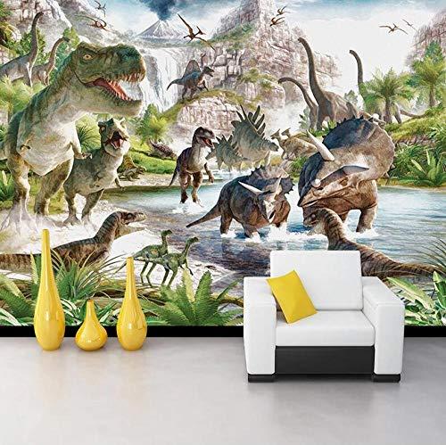 Muurbehang van vlies, 3D-wandbehang, personaliseerbaar, dinosaurus wereldkaart, voor slaapkamer, woonkamer, tv, wandfoto, fotobehang 300*210