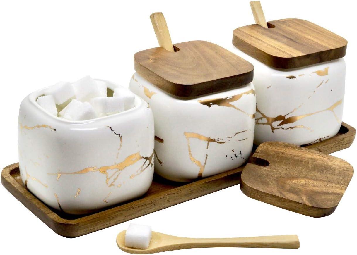 LaBrize juego de 3 especieros de cerámica, azucarero y salero - en elegante aspecto de mármol - especiero con tapa de madera auténtica, cuchara de bambú y bandeja de madera (blanco perla)