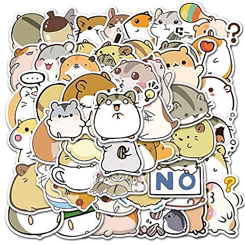 100PCS 10/30 / 50pcs Dibujos Animados Lindo Graffiti Hamster Equipador Papelería Cuaderno Refrigerador Niños Pegatinas Impermeable al por Mayor estéticas (Color : 10PCS)