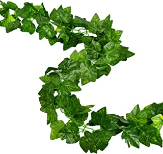 RURALITY Artificial Ivy Garland Fake Green Vines with Grape Leaves for Wedding,Table,Cabinet Decoration,Pack of 2,Total 189 Inches
