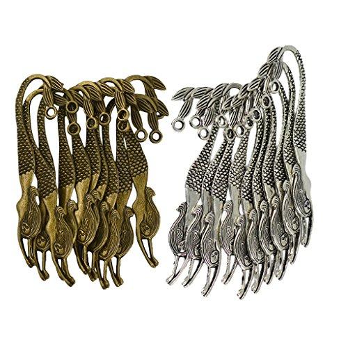 MonkeyJack 20pcs Wholesale Antique Silver Bronze Mermaid Charms Bookmarks for Beading