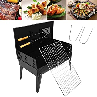 BBQ Portable Charcoal Grill, Stainless Steel Barbecue Grill Foldable Table Garden Travel Camping