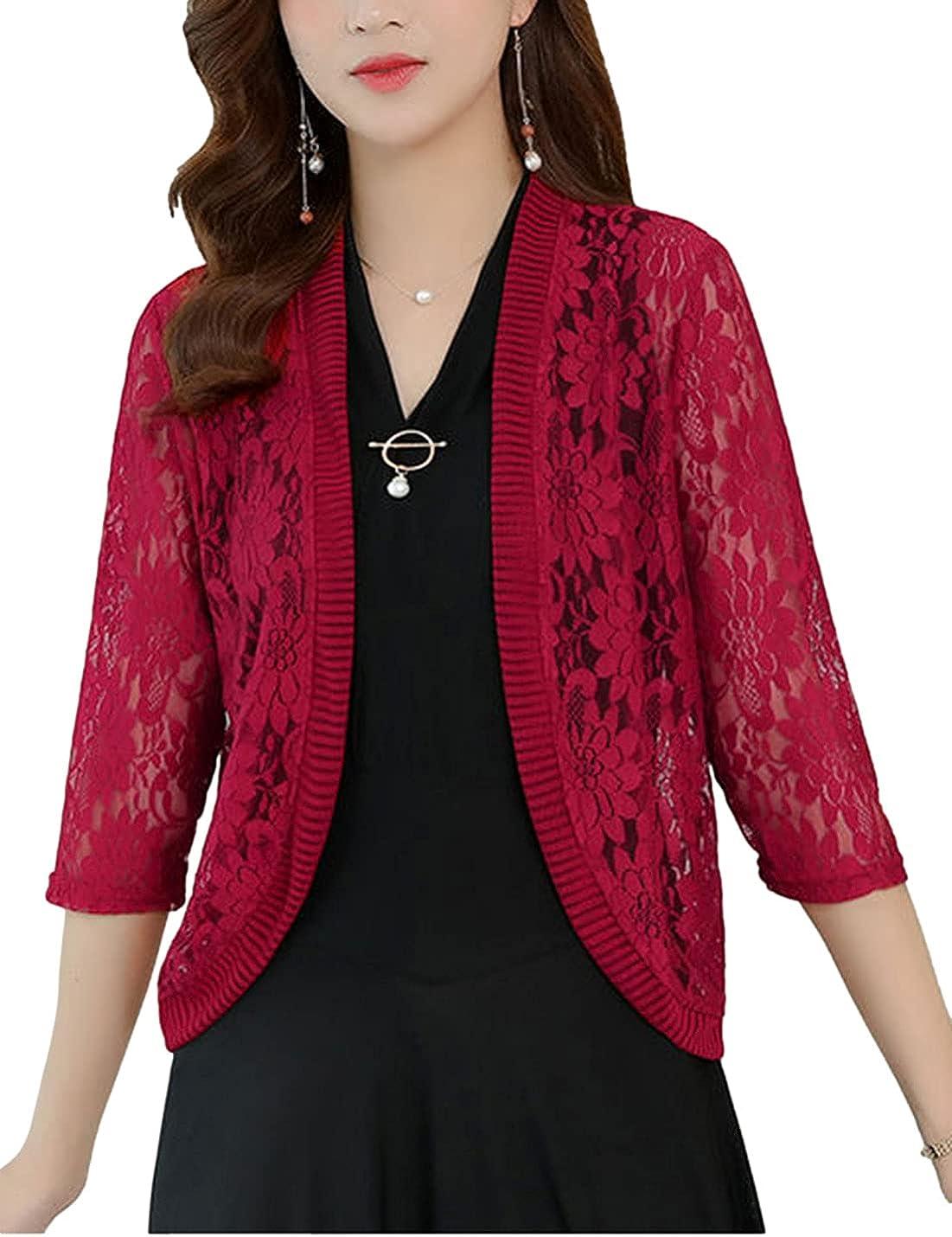 AMEBELLE Women's 3/4 Sleeve Lace Open Front Cardigan Crochet Bolero Shrug Tops