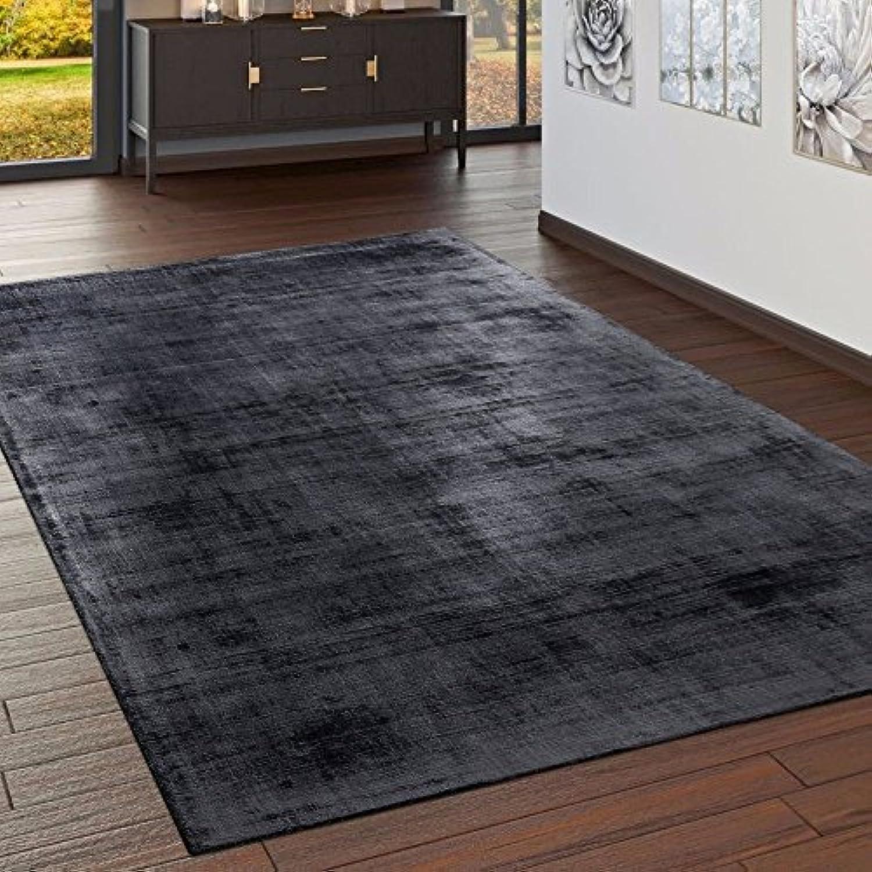 Paco Home Teppich Handgefertigt Hochwertig 100% Viskose Vintage Optisch Meliert Anthrazit, Grsse 160x230 cm