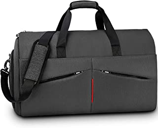Carry on Garment Bag Convertible Suit Travel Bag with Shoes Compartment Waterproof Large Hanging Garment Duffel Bag Weekender Duffle Bag for Men Women Black