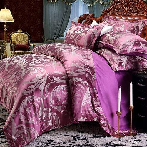 LEV Bedding Sets - european bedding set jacquard stain bed set bed cover spring sheet 4pcs/set queen king duvet set cover bed bedclothes 1 PCs