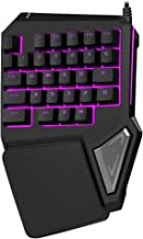 Delux One Handed Wired Ergonomic Gaming Keyboard Programmable 30 Keys 7 Color Backlit with Large Palm Rest for Computer PC Laptop(T9PRO-Black)