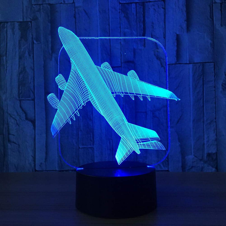 Wangshengchao Flugzeug 3D Licht Tischlampe Optisches Bulbing Nachtlicht 7 Farben ndern Stimmung Lampe,Remote Speakers