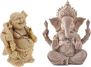 Prettyia 2Pcs Sandstone Seated Ganesh Deity Hindu Buddhism Buddha Figurine Sculpture