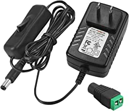 FIT-POWER 12V 2A 24W AC/DC Switching Power Supply Adapter with On/Off Switch, Input 100-240V Output 12Volt 2Amp 24Watt Wall Wart Transformer Charger for DC12V CCTV Camera LED Strip Light, UL Listed