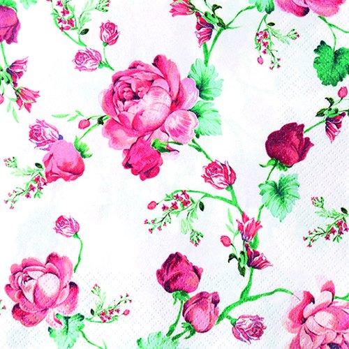 20 Servietten Rote Rosenkette/Blumen/Vintage/Hochzeit 33x33cm