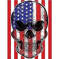 DIY 5D ダイヤモンドペインティング ナンバーキット フルラウンド ドリル ラウンド ラインストーン 刺繍 写真 装飾 アメリカ国旗 頭蓋骨付き 15.7x11.8インチ