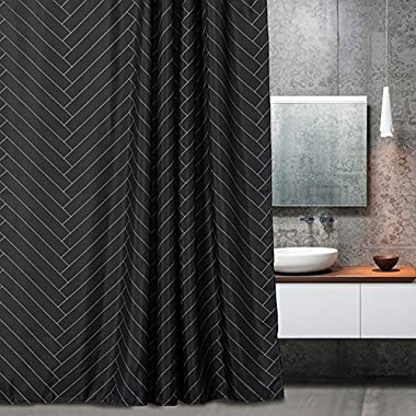 Aimjerry Fabric Shower Curtain Polyester Striped Mold Resistant Black 72  x 72  Geometric Pattern