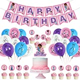 Doc McStuffin Birthday Party Supplies,Party Decor for Doc McStuffin include Banner Cake Cupcake Toppers Latex Confetti Balloons Decorations for Anime Theme Party,