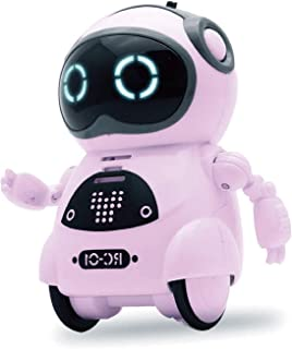 Pocket Robot for Kids, Educational Intelligent Mini Robot Toy, Voice Conversation, Speech Recognition, Dance and Change Voice and Repeat for Boys and Girls Gift (Pink)