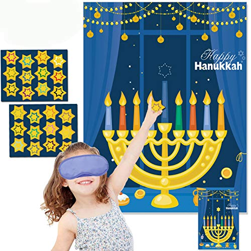 Funnlot Hanukkah Decorations Chanukah Activities Hanukkah Games Pin The Star On The Menorah Game Hanukkah Party Games Chanukah Party Decorations 24 Reusable Stars Happy Hanukkah Games Hanukkah Decor