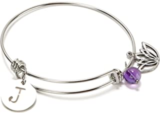 SPUNKYsoul New! New Beginnings Initial Bracelet with Lotus and Amethyst for Women Collection (J)