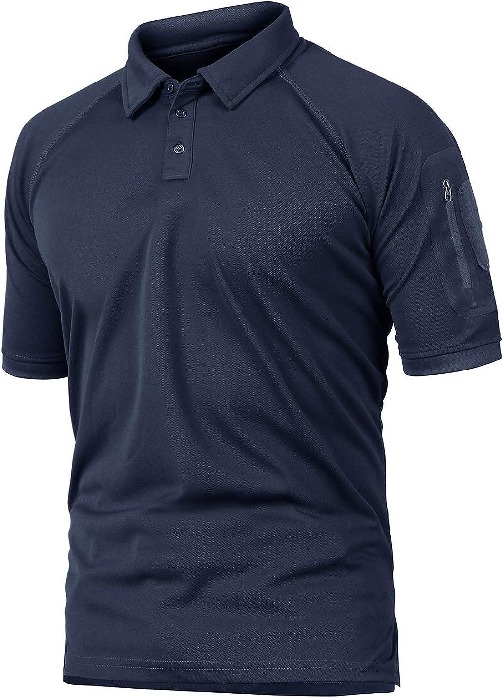 KEFITEVD - Camiseta militar de manga corta para hombre, con bolsillos con cremallera, superficie de velcro, transpirable, para el tiempo libre