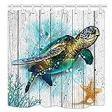 Aliyz Meerestier Schildkröten Tapete Duschvorhänge Aquarell Ziegel Schildkröte Seestern auf Grunge Rustikalen Grau Holzplanken Bad Gardinen Wasserdichtes Gewebe Panel Bad Vorhang 12 Haken 71X71in
