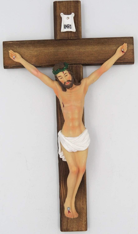 Christian Decor Cheap mail order sales 11.8 Inch Catholic Max 50% OFF Resin Christ Ca On INRI Jesus