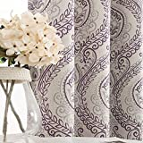 jinchan Damask Printed Curtains for Bedroom Drapes Vintage Linen Look Medallion Curtain Panels Window Treatments for Living Room Patio Door 2 Panels 54 inches Long Purple