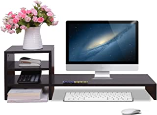 WAYTRIM 3-Tier Computer Monitor Stand Riser Wooden Desk Storage Organizer Desktop Shelf Riser for Home and Office Use, Black