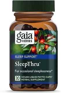 Gaia Herbs, SleepThru, Sleep Support, Non Habit Forming Herbal Sleep Aid, Passionflower, Ashwagandha, Jujube, Organic, Melatonin Free, Vegan Liquid Capsules, 30 Count