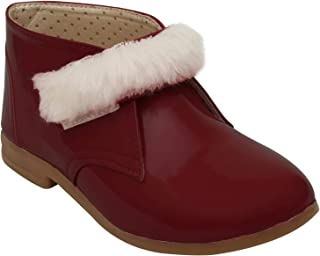 D'chica Fur Trimmings Red Boots for Girls