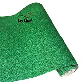 """La Chat 8"""" x 53"""" (21cm x 135cm) Roll Sparkly Superfine Glitter Vinyl Fabric Fine Glitter PU Leather Canvas Back Material for Shoes Bag Sewing Patchwork DIY Bow Craft Applique(Bottle Green)"""
