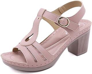 Sandales Femmes Talon Bloc Ete Bout Ouvert Chunky à Talon Haut Bride Cheville Boucle Mules Plateforme Élégance Chaussures ...