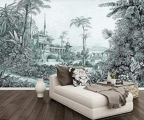Papel pintado de castillo botánico dibujado a mano moderno Papel tapiz de pared Decoración Papel tapiz 3D Pegar Sala de estar La pared para dormitorio Mural * 310 * 200 cm