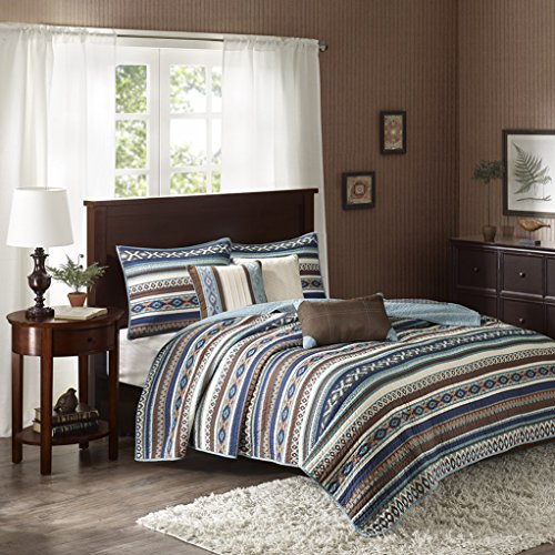 Southwest, Brown & Turquoise Native American Full/Queen Quilt, Shams & Toss Pillows (6 Piece Bed in A Bag)