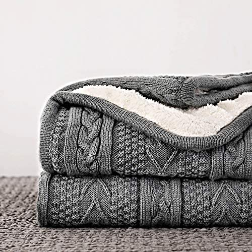 Longhui bedding Acrylic Cable Knit Sherpa Throw Blanket Thick Soft Big Cozy Grey Knitted Fleece product image