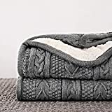 Longhui bedding Acrylic Cable Knit Sherpa Throw Blanket - Thick, Soft, Big, Cozy Grey Knitted Fleece Blankets for Couch, Sofa, Bed - Large 60 x 80 Inches Gray Coverlet, 5.2 Pounds