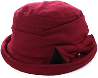 Comhats Ladies Wool Cloche Hats Winter Bucket Hat 1920s Vintage Derby Hat Foldable