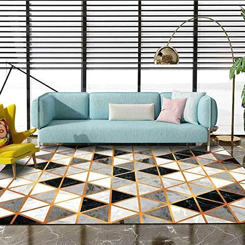 Alfombra Suelo Radiante electrico Patrón de triángulo geométrico Amarillo de Textura de mármol Gris Negro Alfombra Juvenil Dormitorio alfombras Juveniles 160*230cm