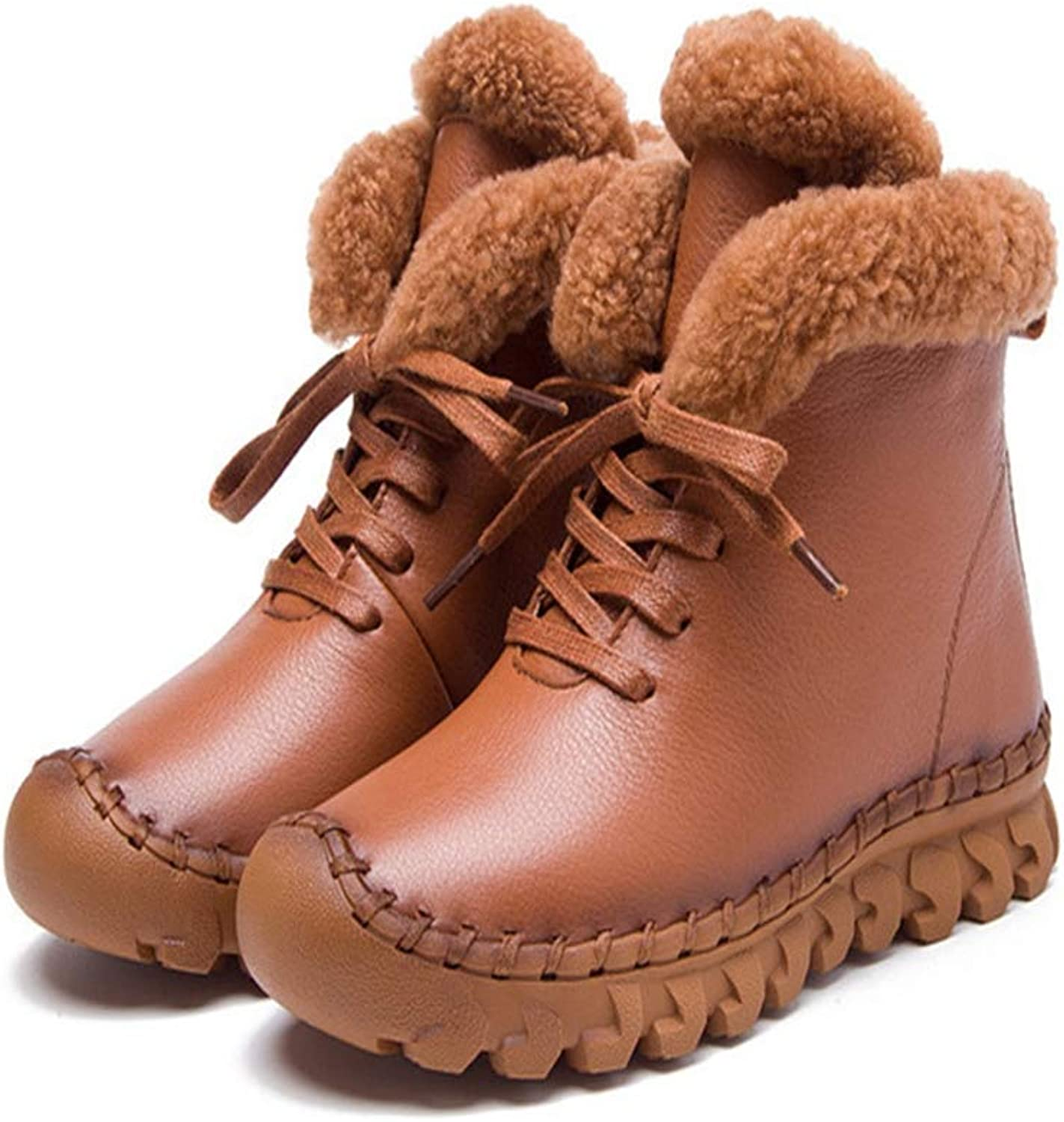 Hoxekle Women Winter Snow Boots Anti-Slip Soles Lace Up Warm Lining Winter Round Toe Faux Fur Female Comfortable shoes