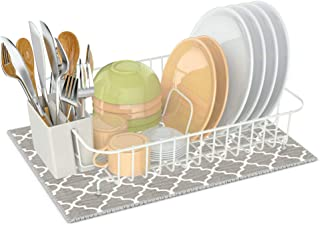 Dish Drying Rack,Ace Teah Small Dish Rack with Dish Drainer Mat for Counter